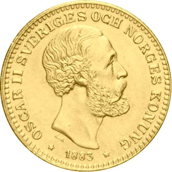 // 10 coroane, aur de 900/1000, Suedia, 1873-1901 // - Regele Oscar al II-lea a fost ultimul suveran suedez, care a fost încoronat în acelaşi timp, ca rege al Suediei şi rege al Norvegiei. Pe inscripţia circulară a monedei suedeze de 10 coroane de aur, ap