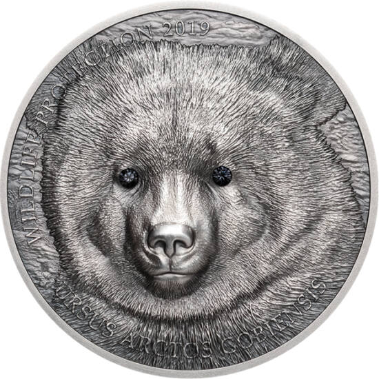 // 500 togrog, argint de 999/1000, Mongolia, 2019 // - Ursul Mazaalai din deşertul Gobi este pe cale de dispariţie, doar câteva exemplare mai trăiesc în libertate. În moneda de argint, prelucrat foarte minuţios, sunt inserate Cristale Swarovski. Vă livrăm