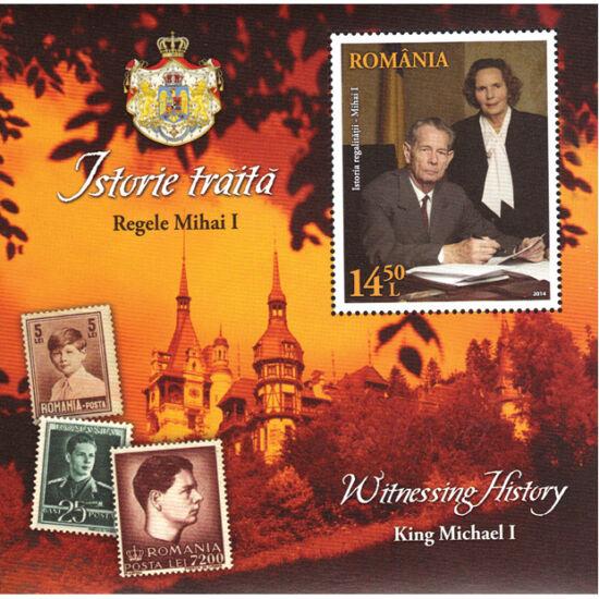 // 14,50 lei, România, 2014 // - Emisiunea filatelică înfăţişează pe Majestăţile lor Regele Mihai I şi Regina Ana, Castelul Peleş şi timbre emise în timpul regalităţii.
