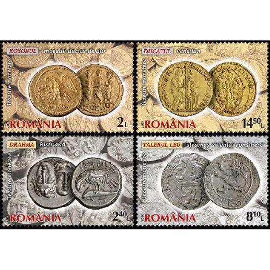 // 2, 2,40, 8,10, 14,50 lei, România, 2014 // - Dedicate valoroasei colecţii din cadrul BNR, timbrele prezintă monede dacice de argint, monede imperiale de aur, ducatul olandez şi monede poloneze de argint.