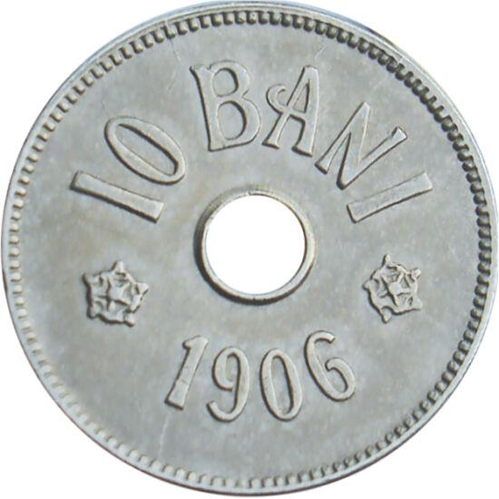 """// 10 bani, România, 1905-1906 // - Prima monedă europeană cu gaură a fost bătută în anul 1901, în Belgia, iar utilizarea acestora au fost răspândite cu repeziciune în toată Europa. În scurt timp, din anul 1905 şi ţara noastră a introdus baterea """"monedelo"""