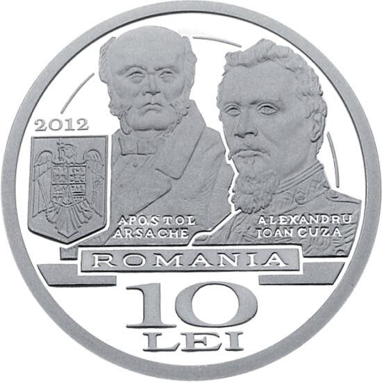 // 10 lei, argint de 999/1000, România, 2012 // - Monedă de argint, emisă cu ocazia aniversării a 150 de ani de la înfiinţarea Ministerului Afacerilor Externe, înfăţişând imaginea Palatului Sturdza, pe Apostol Arsache, primul titular al Ministerului Aface