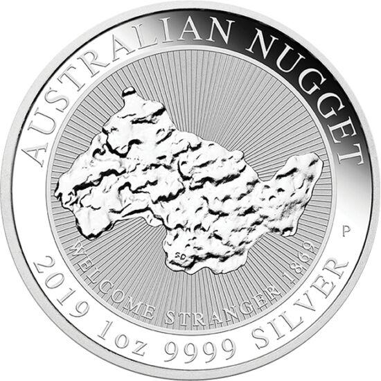 """// 1 dolar, argint de 999,9/1000, Australia, 2019 // - Australia este ţara unor pepite de aur legendare. Pe cea mai recentă monedă de o uncie figurează imaginea celei mai mari pepite de aur găsită în anul 1869, de 97 kg, denumită """"Welcome stranger"""" – adic"""