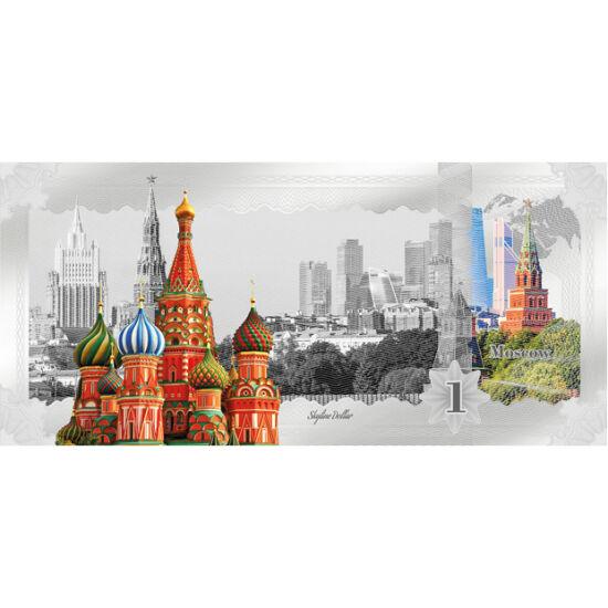 // 1 dolar, argint de 999/1000, Insulele Cook, 2019 // - O noutate în ultimii ani este bancnota din argint. Dolarii subţiri din argint pur sunt foarte căutaţi. Cel mai nou ne prezintă Catedrala Sf. Vasile şi Kremlinul, din Moscova. Catedrala este formată