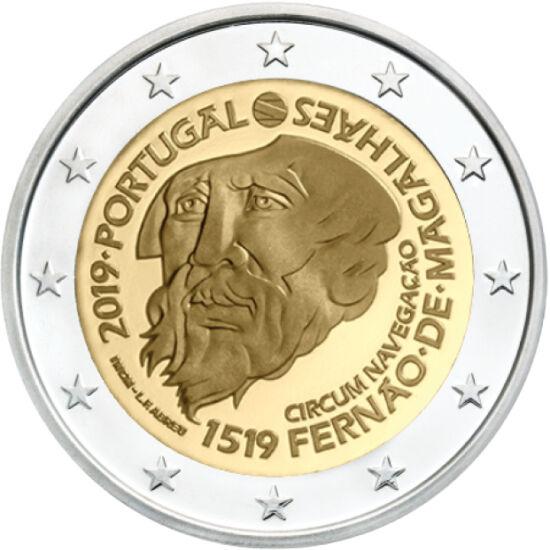 // 2 euro, Portugalia, 2019 // - Portughezul Magellan a pornit să facă înconjurul lumii în 1519. Deşi a decedat în cursul expediţiei, nava lui, sub comanda lui Elcano, a realizat ocolul Pământului în trei ani. Moneda de 2 euro este un semn al recunoştinţe