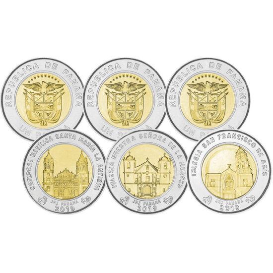 // 3x1 lire, Panama, 2019 // - Printre lansările monetare din 2019, monetăria din Panama a emis trei monede cu imaginile a trei catedrale în stil baroc colonial. Clădirile sunt impozante, luciul alb al turnurilor este dat din cauza plăcilor de marmură, co