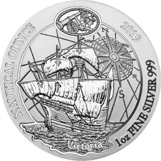 // 50 franci, argint de 999/1000, Ruanda, 2019 // - În 1519, Magellan a pornit din Spania într-o expediţie cu 5 nave de tip caracă: nava principală, Victoria, fiind urmată de Trinidad, San Antonio, Concepcion şi Santiago. Pe moneda din argint apare corabi