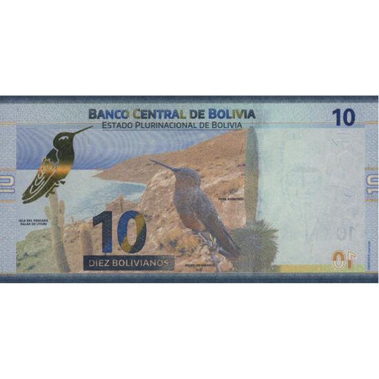// 10 boliviano, Bolivia, 2018 // - În Bolivia se află lacul Titicaca, cel mai înalt lac care este navigabil cu vapoare şi cel mai mare deşert sărat. Ţara este cea mai săracă ţară sud-americană. Bancnota din 2018, decorată cu un colibri şi peştera Umajala