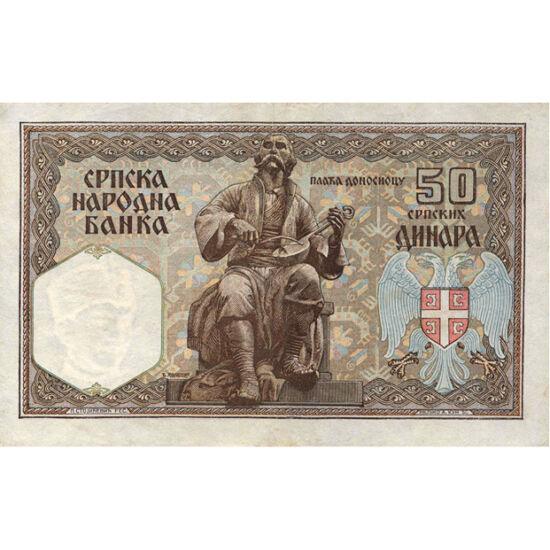 // 50 dinari, Serbia, 1941 // - Deşi între 1941 şi 1944 Serbia era sub ocupaţie germană, Banca Naţională a Serbiei a emis bancnote care nu au dat semne de ocupaţie. Bancnota este dominată de caracterul naţional, având ca motive vulturul, muzicianul în por