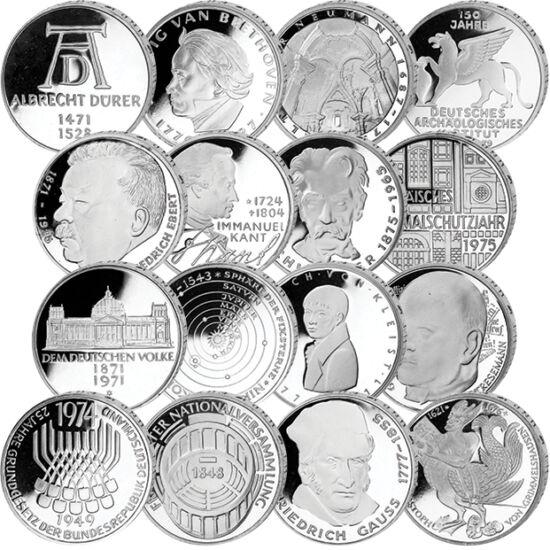 // 16 x 5 mărci, argint de 625/1000, Germania, 1970-1979 // - Germania de Vest a emis monede comemorative de 5 mărci începând din anul 1952. În primii ani, aceste monede au conţinut 7 grame de argint. Din anul 1975, conţinutul de argint a fost redus, iar