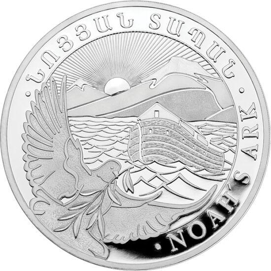// 500 dram, argint de 999/1000, Armenia, 2019 // - În timpul Potopului, numai Noe şi familia lui au fost salvaţi, cu o serie de animale din fiecare specie, într-o arcă uriaşă care s-a împotmolit pe muntele Ararat din Platoul Armean. Moneda armeană de inv