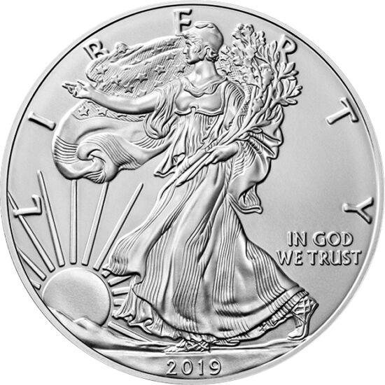 """// 1 dolar, argint de 999/1000, SUA, 2019 // - Noua emisiune a celei mai cunoscute şi populare monede de investiţie din argint! Primul Vultur din argint a fost emis de monetăria SUA în 1986, de atunci moneda fiind emisă în fiecare an cu motivul """"Walking L"""