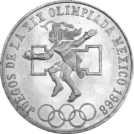 // 25 peso, argint de 720/1000, Mexic, 1968 // - În anul 1968, JO au fost organizate la Ciudad de México, care se află la o altitudine de 2.250 m deasupra nivelului mării. Datorită acestui fapt, la atletism au fost cele mai multe recorduri mondiale, iar f