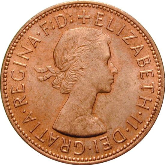 // 1 penny, Marea Britanie, 1967 // - Elisabeta a II-a este demna urmaşă a stră-străbunicii sale, Regina Victoria, având aceeaşi reputaţie şi popularitate ca predecesoarea sa. Domnia ei deja a depăşit cei 63 de ani ai Victoriei. Reversul monedei este deco