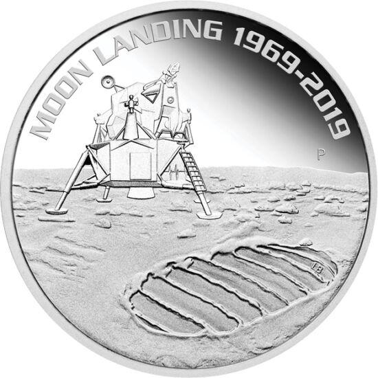 // 1 dolar, argint de 999,9/1000, Australia, 2019 // - La 20 iulie 1969, modulul lunar al navetei spaţiale Apollo-11 a aselenizat cu doi oameni la bord. Cei 50 de ani de la fapta epocală este omagiată prin două monede speciale: cea austriacă este colorată
