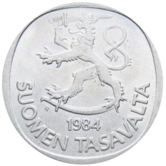 // 1 marcă, Finlanda, 1969-1993 // - Reforma monetară finlandeză din 1963 a schimbat 100 de mărci vechi în una nouă. Cadrul monedei s-a folosit de o iluzie optică, transformând cercul discului într-un aparent patrulater. Pe aceasta a apărut pentru prima d