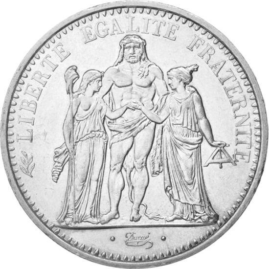 // 10 franci, argint de 900/1000, Franţa, 1965-1973 // - Grupul alegoric format din trei personaje întruchipează Franţa şi triplul slogan al acesteia. Moneda de argint emisă în anii '60 aduce un omagiu Revoluţiei franceze: personajul feminin purtând o bon