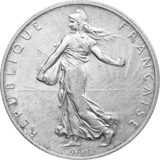// 2 franci, argint de 835/1000, Franţa, 1898-1920 // - Figura semănătoarei Marianne a fost creată de gravorul de monede Louis Roty în anul 1897. Femeia cu bonetă frigiană a devenit atât de apreciată încât a apărut pe mai multe monede franceze, apoi inclu