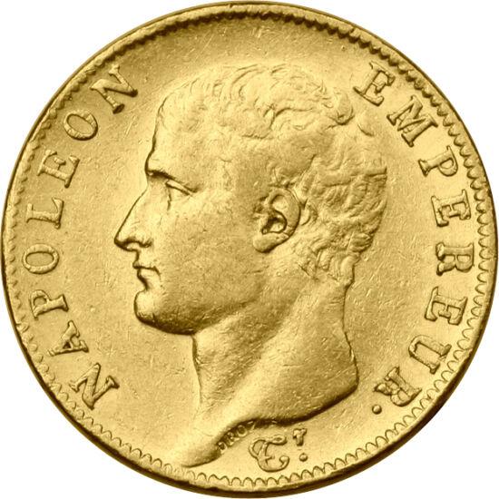 // 20 franci, aur de 900/1000, Franţa, 1806-1807 // - Monedele de aur ale lui Napoleon sunt de o valoare ridicată atât datorită rarităţii, cât şi grandorii personajului istoric care le-a emis. Deja de două secole, aceste piese de aur sunt de importanţă is