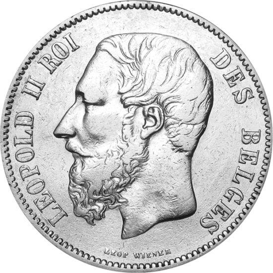 """// 5 franci, argint de 900/1000, Belgia, 1865-1876 // - Regele Leopold al II-lea al Belgiei beneficiază de porecla """"marele colonizator"""", deoarece sub domnia lui a devenit Belgia mare ţară colonizatoare, coloniile fiind până atunci proprietăţile private al"""