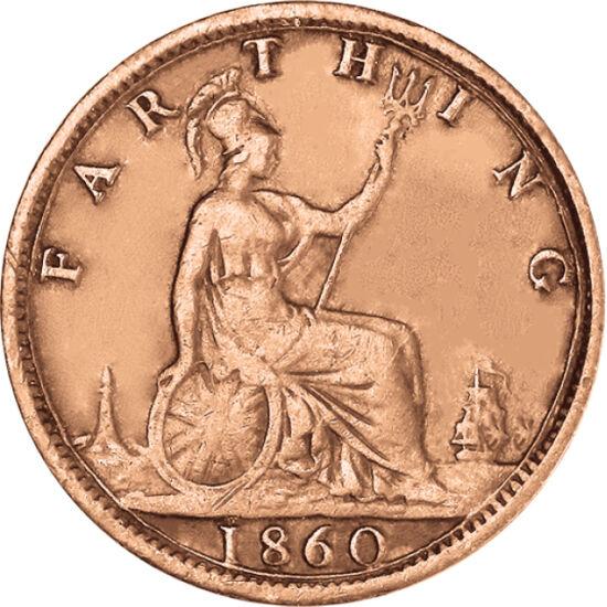 // 1 farthing, Marea Britanie, 1860-1873 // - Regina Victoria a fost fondatoarea dinastiei Windsor. Cât a fost pe tron, şi-a căsătorit copiii, nepoţii sau strănepoţii în aproape toate dinastiile monarhice din lumea occidentală. Pe această monedă veche o v