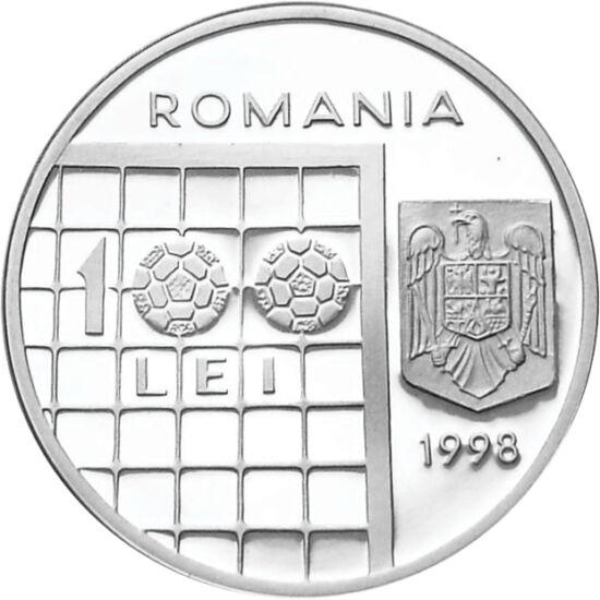 // 100 lei, argint de 925/1000, România, 1998 // - La Campionatul Mondial de Fotbal din 1998, ţara noastră a fost reprezentată de către fotbalişti ca Petrescu, Ilie şi Hagi. În amintirea evenimentului sportiv desfăşurat în Franţa, Banca Naţională a Români