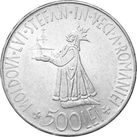 // 500 lei, argint de 835/1000, România, 1941 // - Pe moneda de argint deosebit de frumoasă este înfăţişat voievodul Ştefan cel Mare îngenunchiat, oferind o biserică. Moneda a fost emisă cu ocazia eliberării Moldovei de peste Prut de sub ocupaţia sovietic