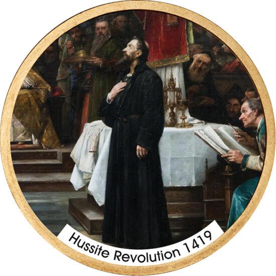 // 1 dolar, SUA, 2007-2016 // - Războaiele Husite au început în anul 1419 în Praga. După ce husiţii au distrus zone din oraş, Sigismund al Boemiei a pornit cruciade împotriva lor. Aceste războaie au fost primele în care armele de foc portabile, au avut o