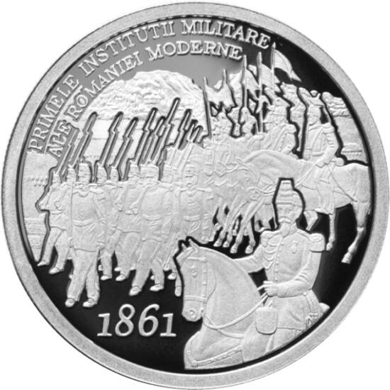 // 10 lei, argint de 999/1000, România, 2011 // - Moneda din argint pur emisă de BNR este dedicată aniversării a 150 de ani de la înfiinţarea primelor instituţii militare a României moderne. Aceste instituţii au fost înfiinţate pe vremea marelui domnitor