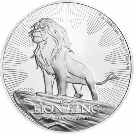 // 2 dolari, Regele Leu, argint pur, Ag 999, Niue, 2019 // În urmă cu 25 de ani, în anul 1994 filmul de animaţie Regele Leu, a ajuns pe marile ecrane. Povestea lui Simba a devenit un succes la nivel mondial, iar filmul a câştigat două Oscaruri. Acum, pute