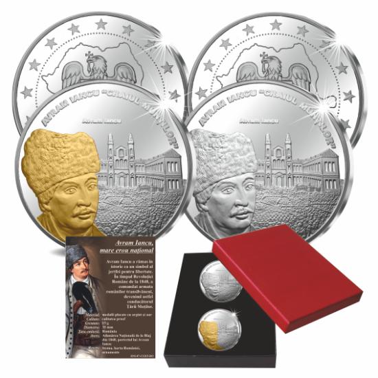 // medalii, calitatea proof, Avram Iancu, mare erou naţional, set de 2 medalii ambalat exclusiv, placat cu aur şi argint, România,  // Avram Iancu a rămas în istorie ca un simbol al jertfei pentru libertate. În timpul Revoluţiei Române de la 1848, a coman