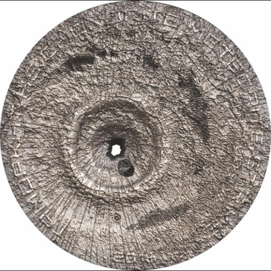 // 2 dolari, Meteoritul Tamdakht pe monedă argint, argint de 999/1000, Insulele Cook, 2016 // În data de 20 decembrie 2008, meteoritul Tamdakht s-a prăbuşit pe teritoriul Marocului. Și-a făcut apariția cu un zgomot cutremurător, însoțit de o lumină putern