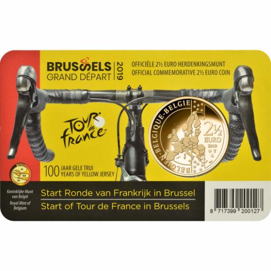 """// 2,5 euro, Faimosul """"Tour de France"""", CuNi, Belgia, 2019 // În urmă cu 100 de ani, cea mai populară competiţie ciclistă a lumii a introdus tricoul galben, care a fost acordat liderului clasamentului general. Belgianul Eddy Merckx a câştigat, în 1969, pe"""