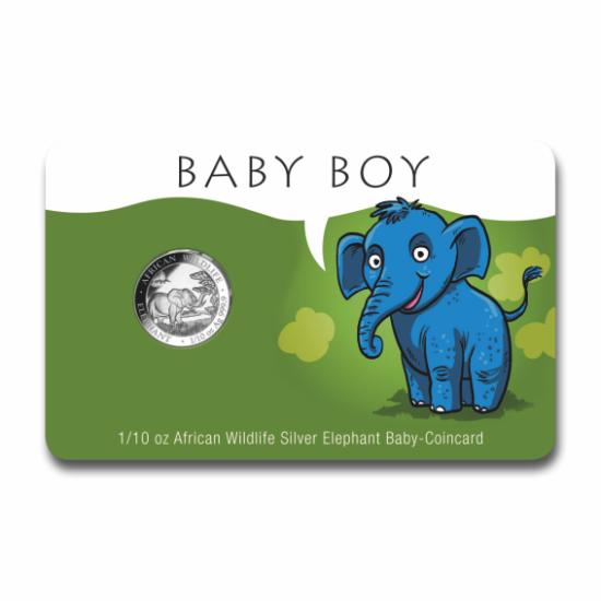 """// 10 şilingi, S-a născut un băieţel - cadou unic din argint pur!, argint de 999,9/1000, Somalia, 2019 // Dăruiţi la naşterea micuţilor cadou monedă deosebită din argint pur! """"Elefant african"""", monedă de investiţie din argint pur, acum cu ocazia naşterii"""