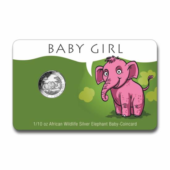 """// 10 şilingi, S-a născut o fetiţă - cadou unic din argint pur!, argint de 999,9/1000, Somalia, 2019 // Dăruiţi la naşterea micuţilor cadou monedă deosebită din argint pur! """"Elefant african"""", monedă de investiţie din argint pur, acum cu ocazia naşterii un"""