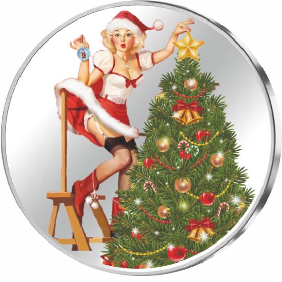 // medalie din argint, Decembrie, împodobirea pomului de crăciun, argint pur, argint de 999/1000, ,  // Moș Crăciun a fost atât de ocupat încât și-a trimis frumoasa asistentă să împodobească pomul de Crăciun. Nu ne pare rău, mai mult, în secret puţin ne ş