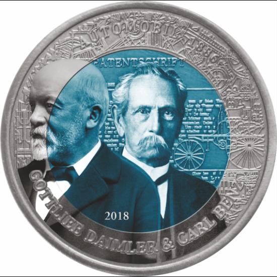 Monedă specială, alcătuită din titaniu de 4,5 mm (!!), exclusivă, datorită culorii albastru-oţel, din interior. Vă livrăm în săculeţ de catifea.